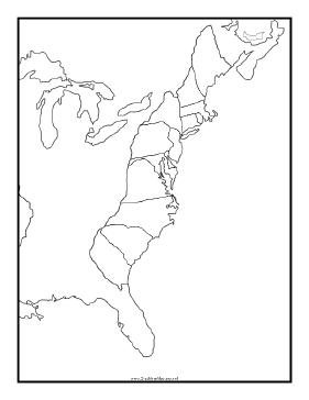 blank 13 colonies map blackline map of thirteen colonies colonies map 13 blank