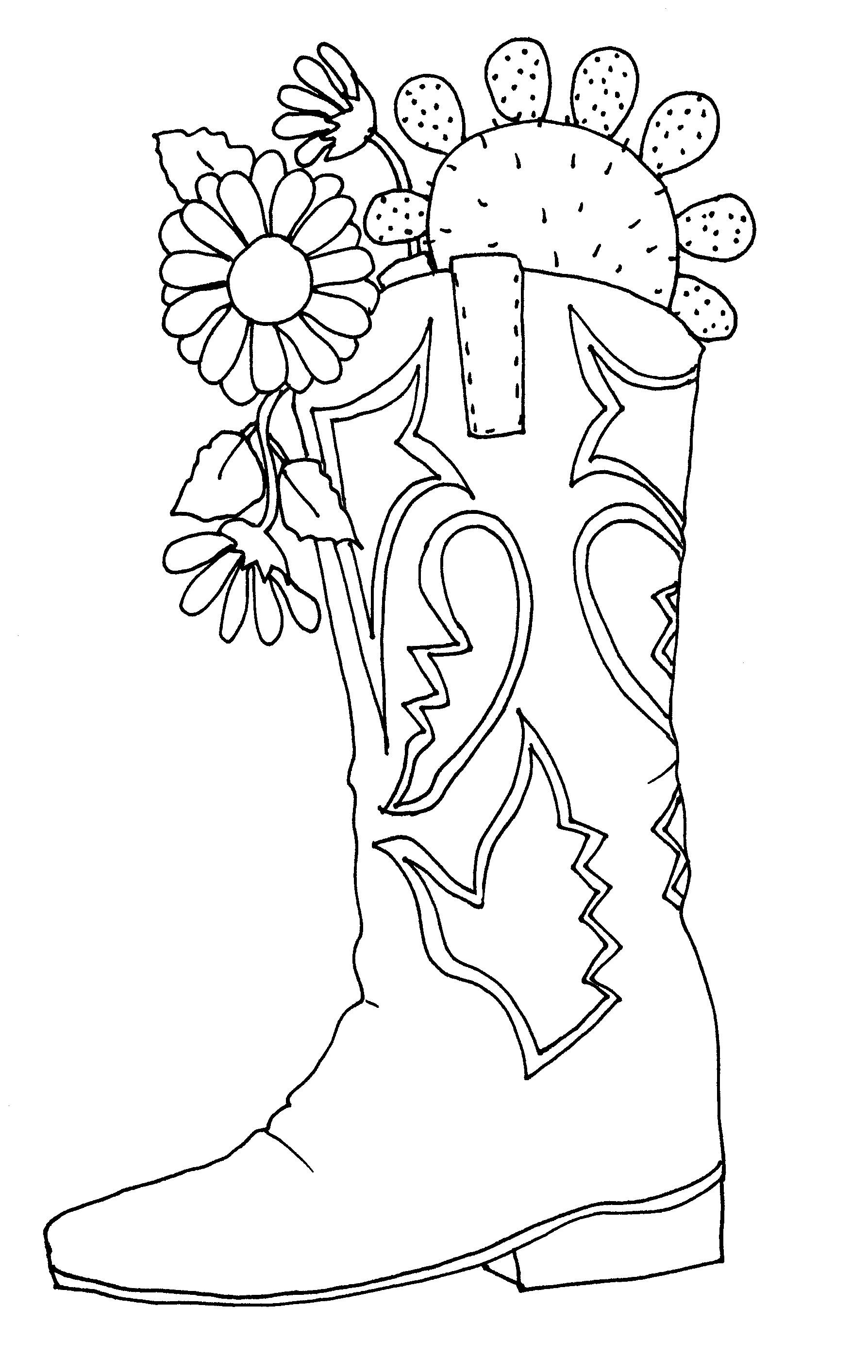boots coloring page cowboy boots and hat drawing at getdrawingscom free for boots coloring page