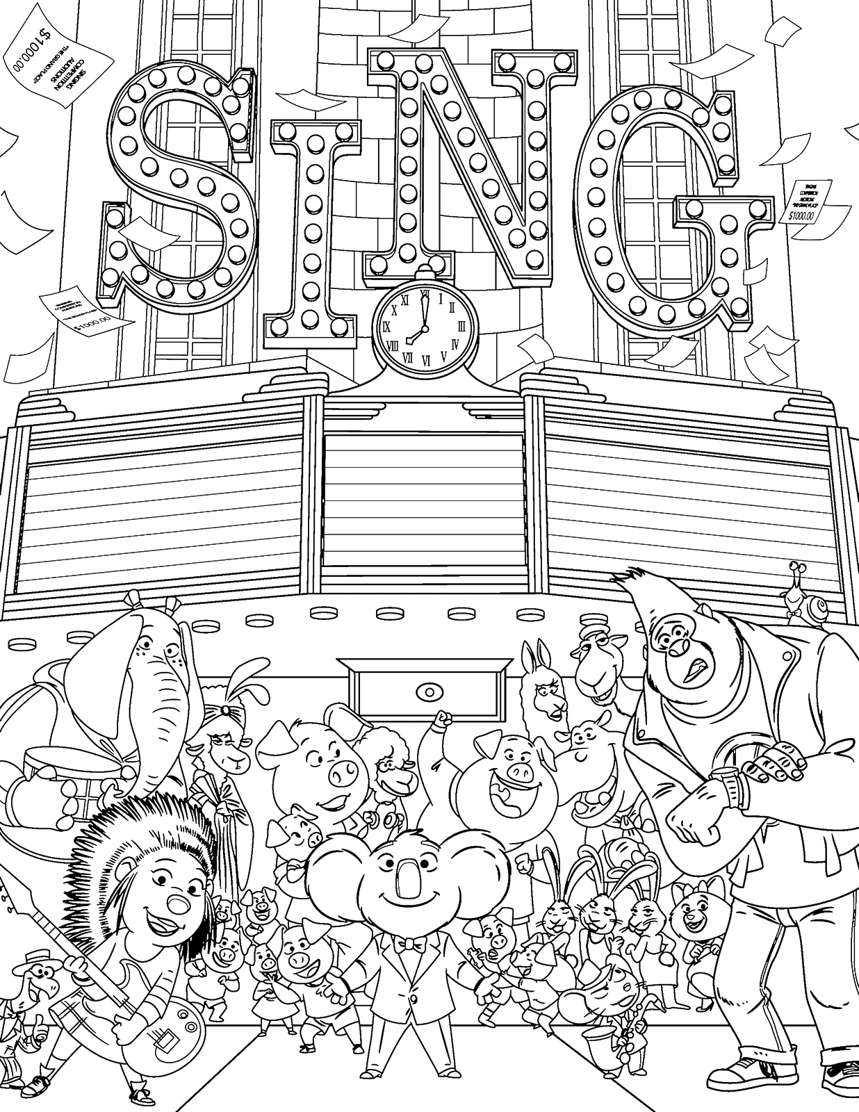 buster moon buster moon sing movie coloring page wecoloringpagecom moon buster