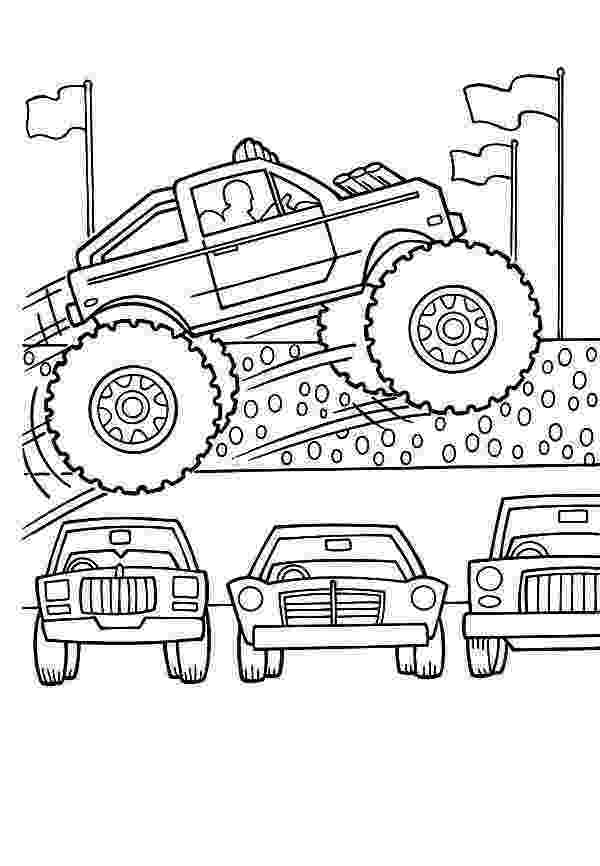 car and truck coloring pages monster truck jumps over cars coloring page kids play color and truck coloring pages car