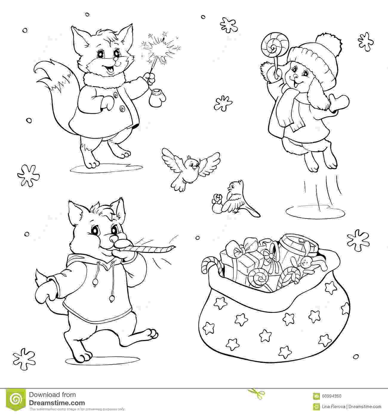 christmas animals coloring book or page cartoon animals with christmas animals christmas