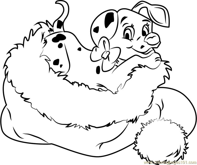 christmas animals dalmation in santa hat coloring page free christmas animals christmas