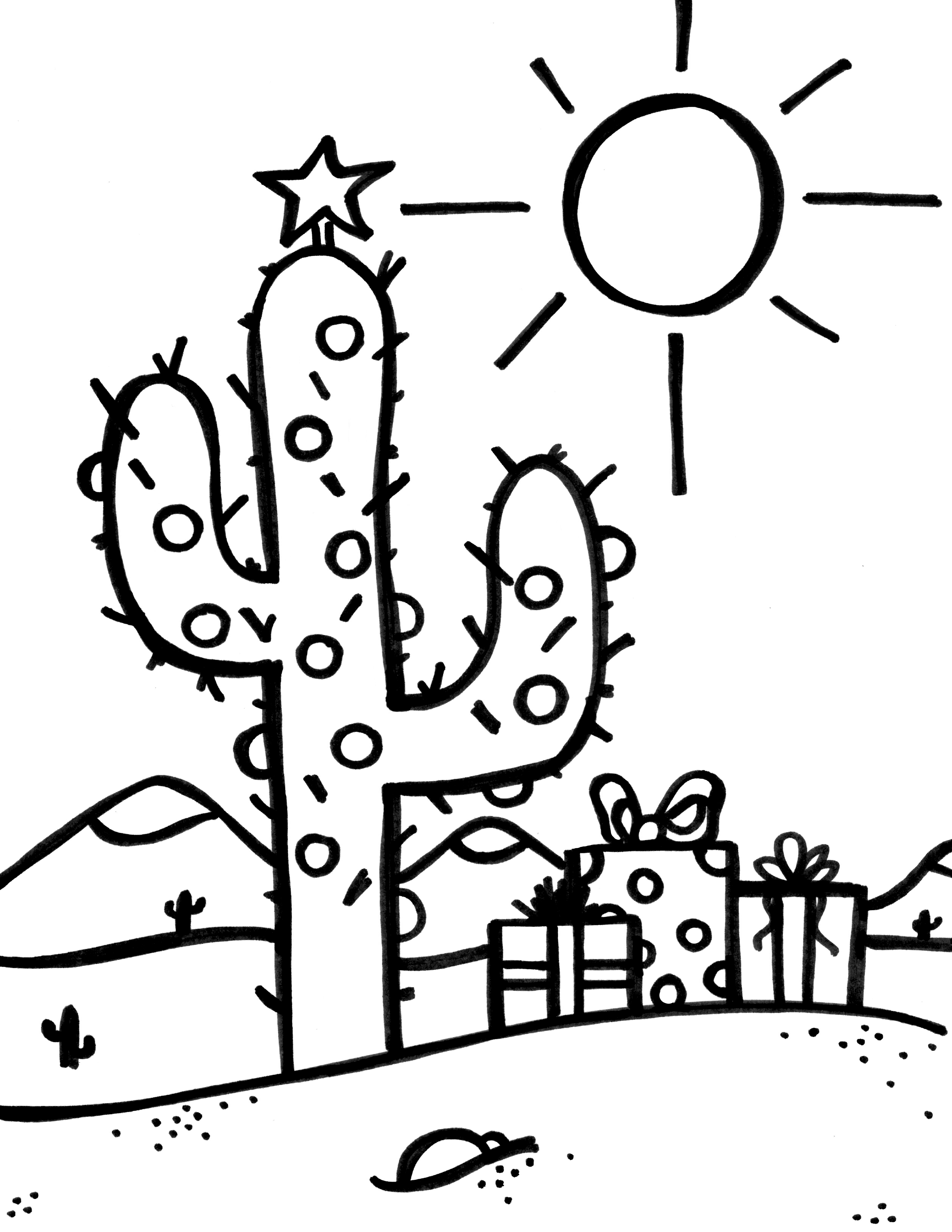 christmas cactus coloring page christmas cactus drawing at getdrawingscom free for christmas coloring page cactus