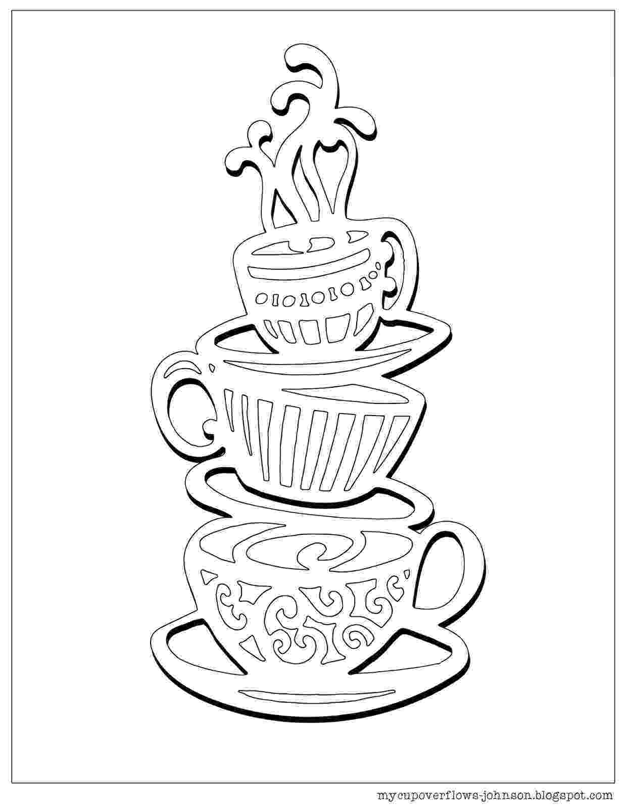coffee cup coloring pages my cup overflows tea and coffee cup coloring coffee pages