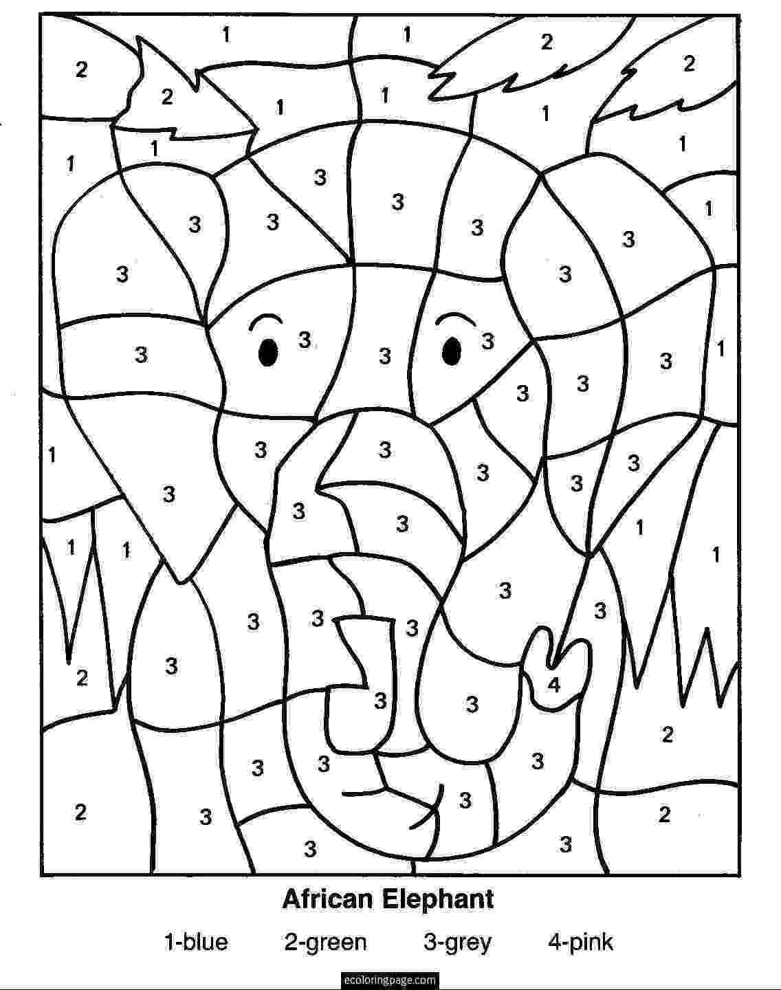 color by number printables color by numbers elephant coloring pages for kids by number color printables