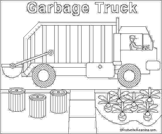 color garbage truck garbage truck online coloring page enchantedlearningcom truck garbage color