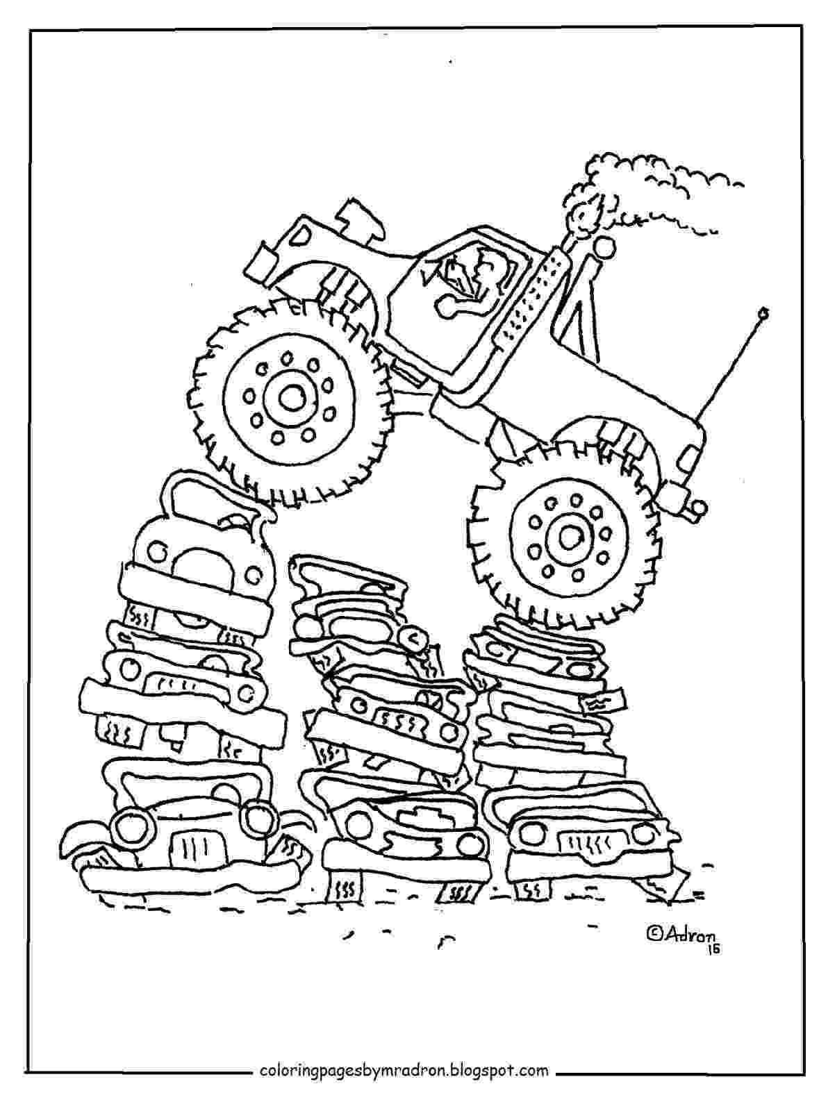 color monster trucks coloring pages for kids by mr adron printable monster color monster trucks