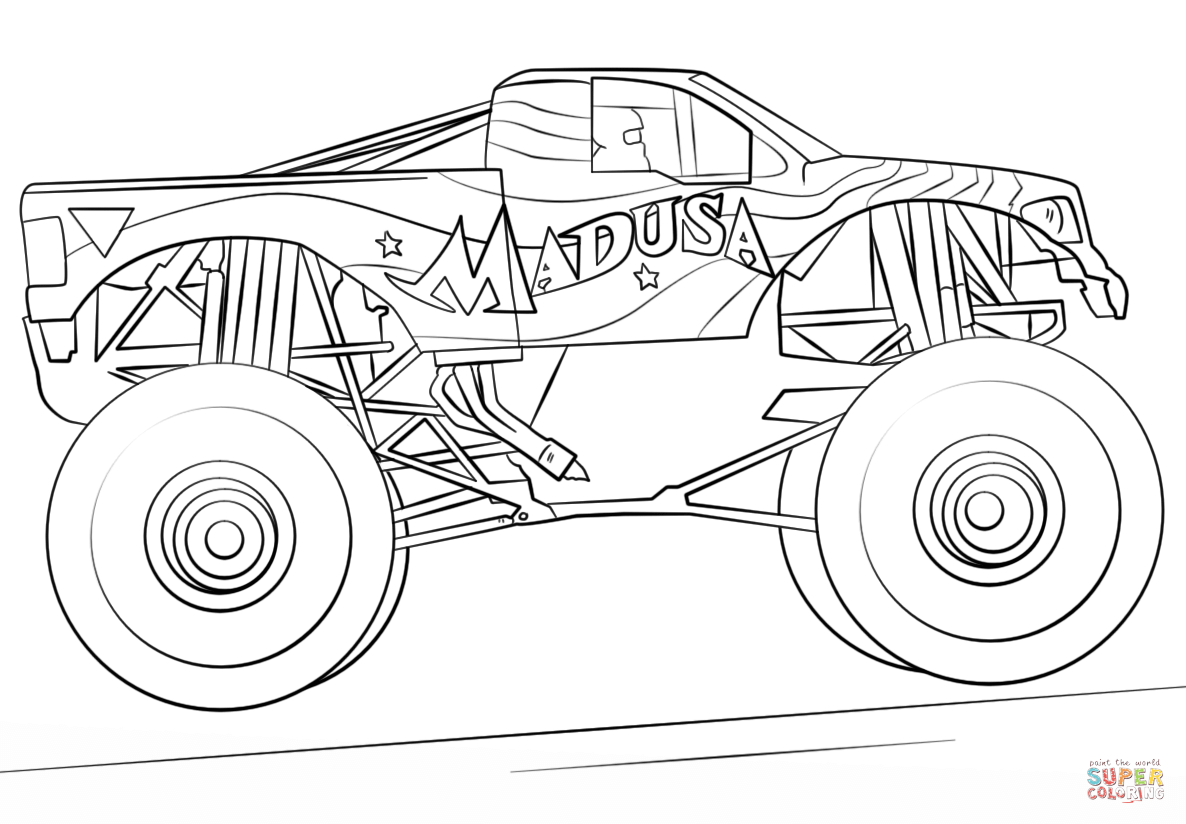 color monster trucks monster drawing for kids at getdrawings free download monster color trucks