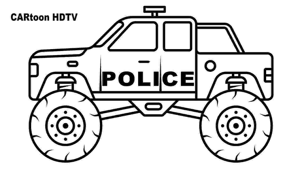 color monster trucks police monster truck coloring pages video colors vehicles trucks monster color
