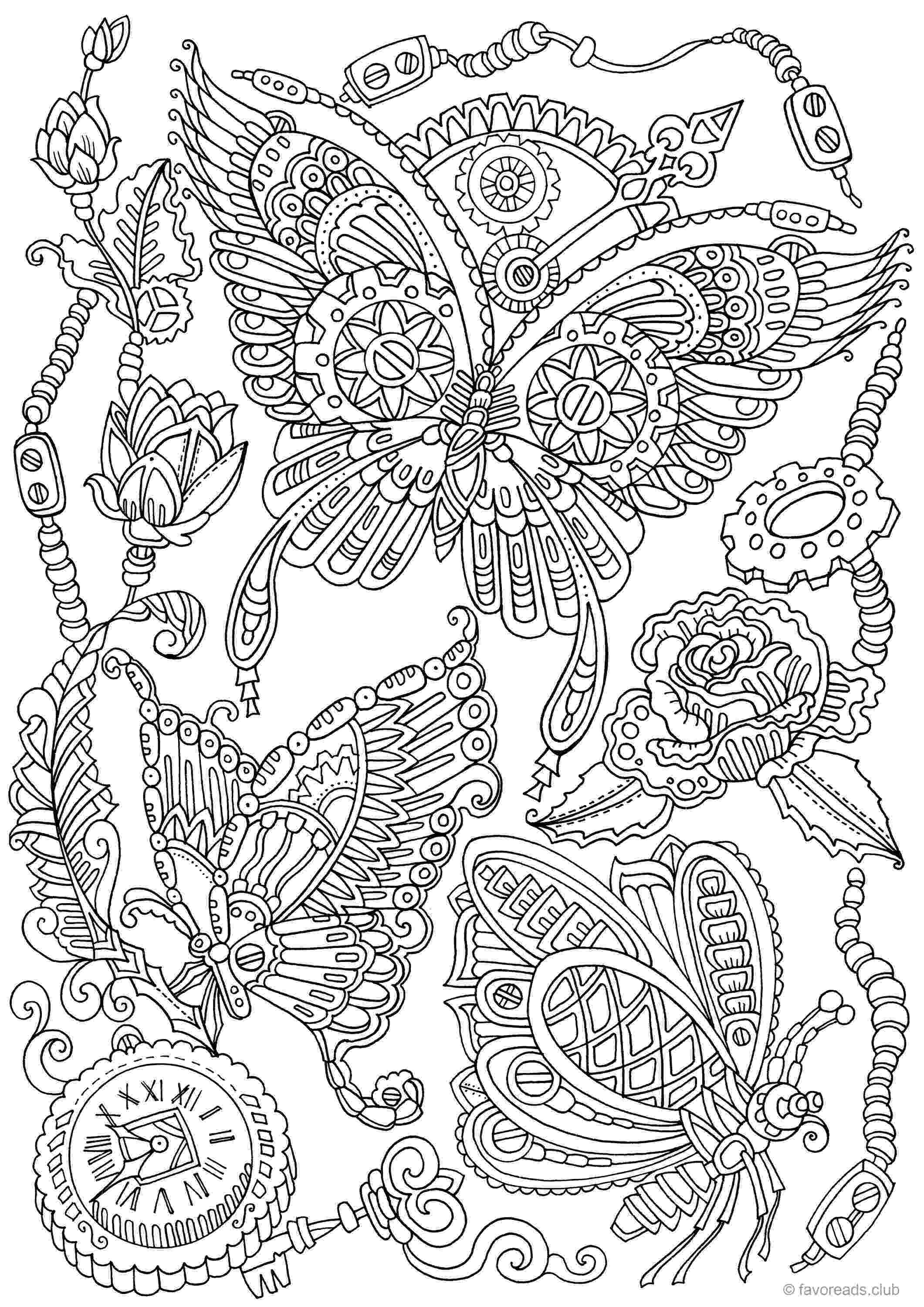 coloring book for adults tokopedia steampunk butterflies printable adult coloring page from tokopedia adults coloring for book