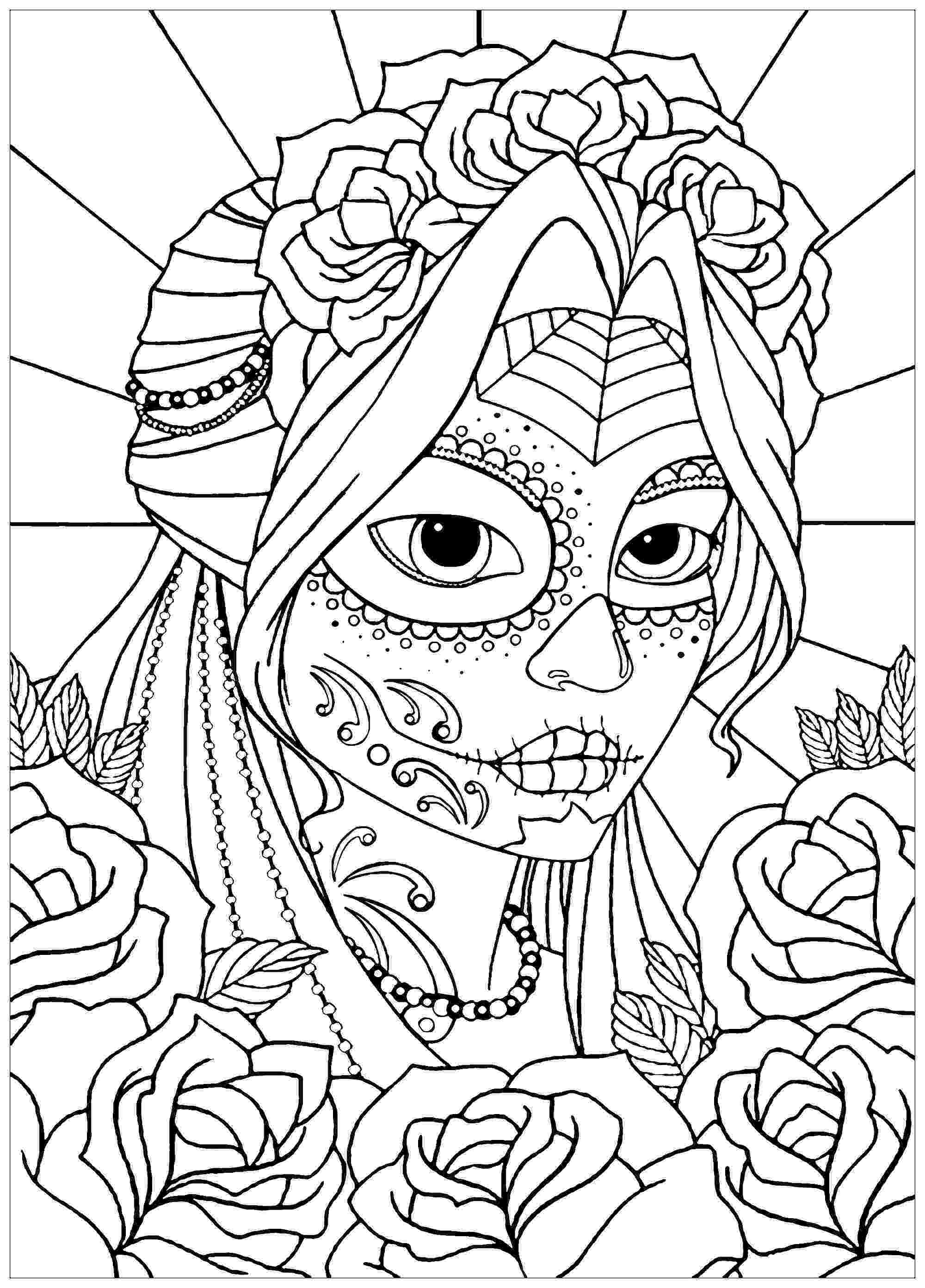 coloring books for grown ups dia de los muertos woman el dia de los muertos el dia de los muertos adult de muertos coloring books grown los dia for ups