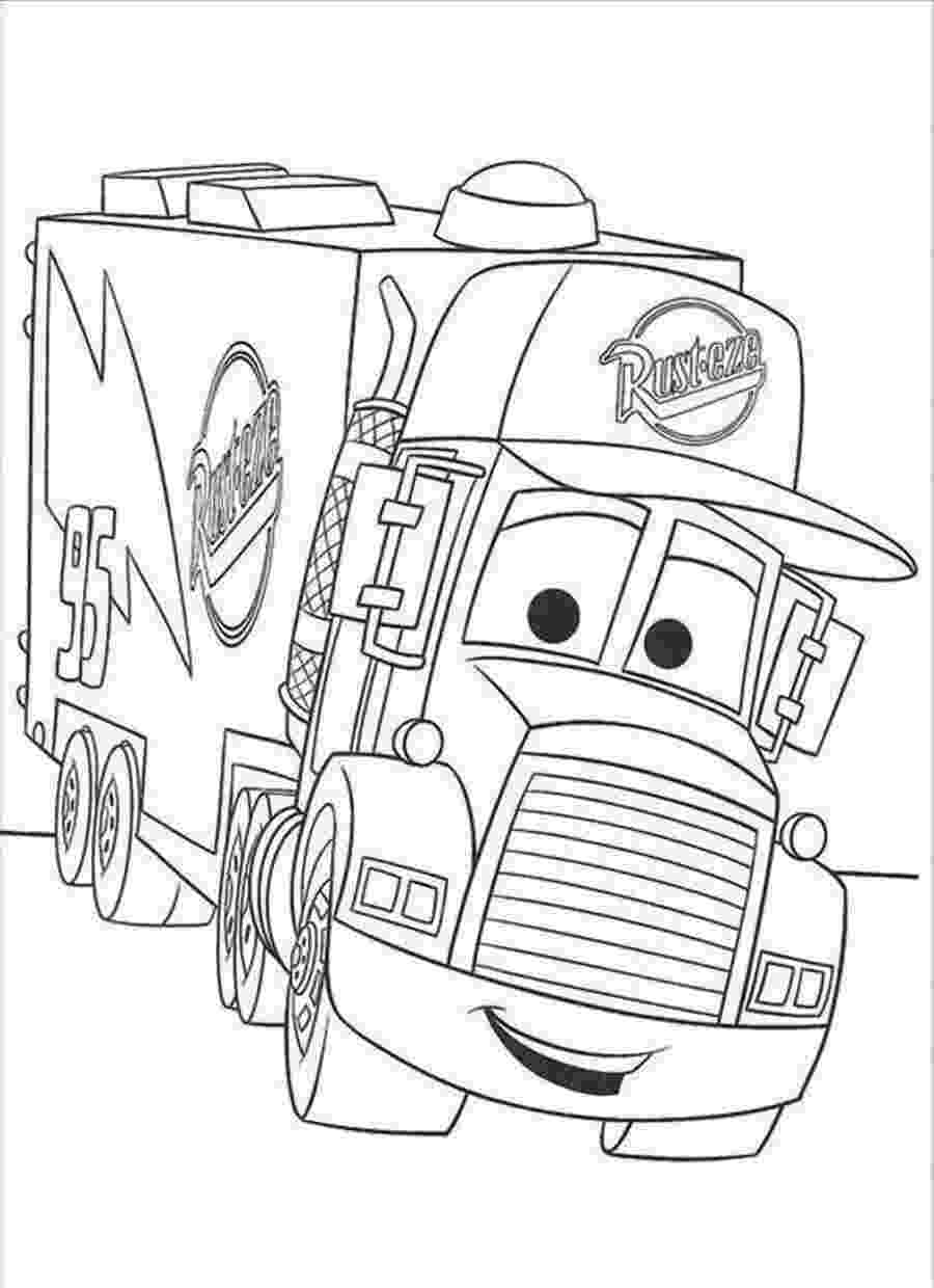 coloring pages cars mack mc queen glides down from mack the truck disney coloring cars coloring mack pages