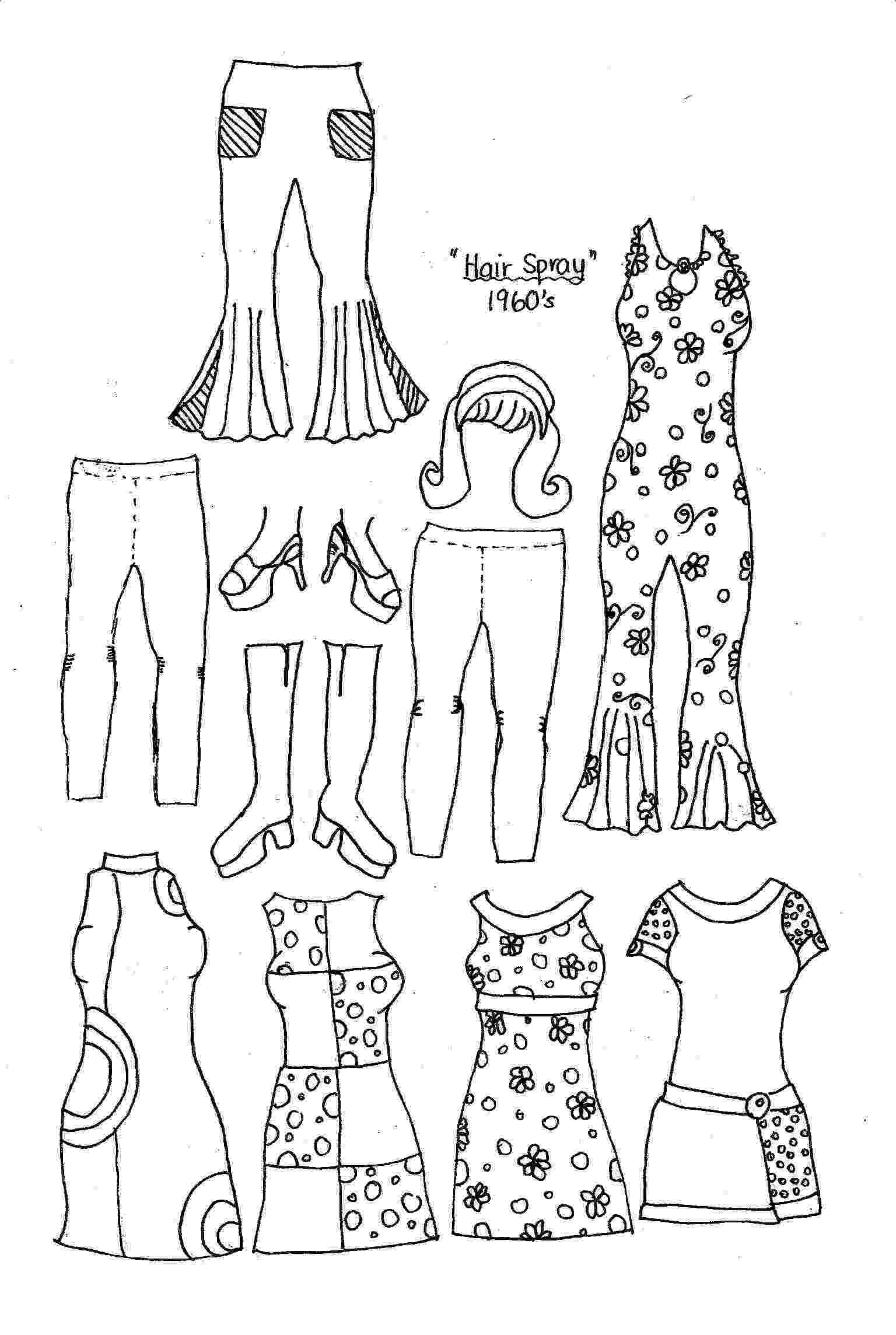 coloring pages clothes printable new paper dolls fashions through the past eras pages clothes printable coloring