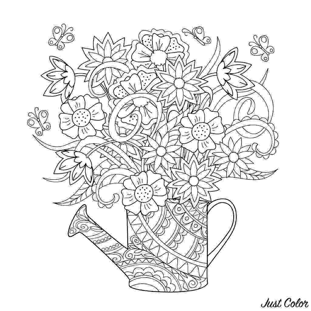 coloring pages for adults to print flowers watering can with flowers flowers adult coloring pages print coloring flowers for to pages adults
