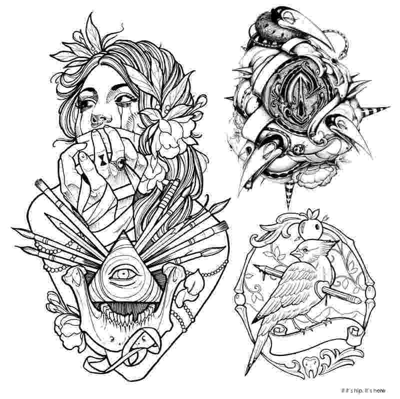 coloring pages for tattoos the best coloring books for grown ups round up part iv coloring tattoos for pages