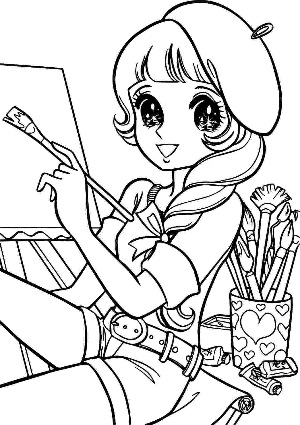 coloring pages girl aeromachia shojo manga no memory painter girl coloring pages girl coloring
