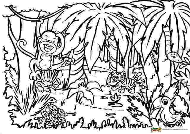 coloring pages jungle jungle animal coloring pages to download and print for free jungle pages coloring