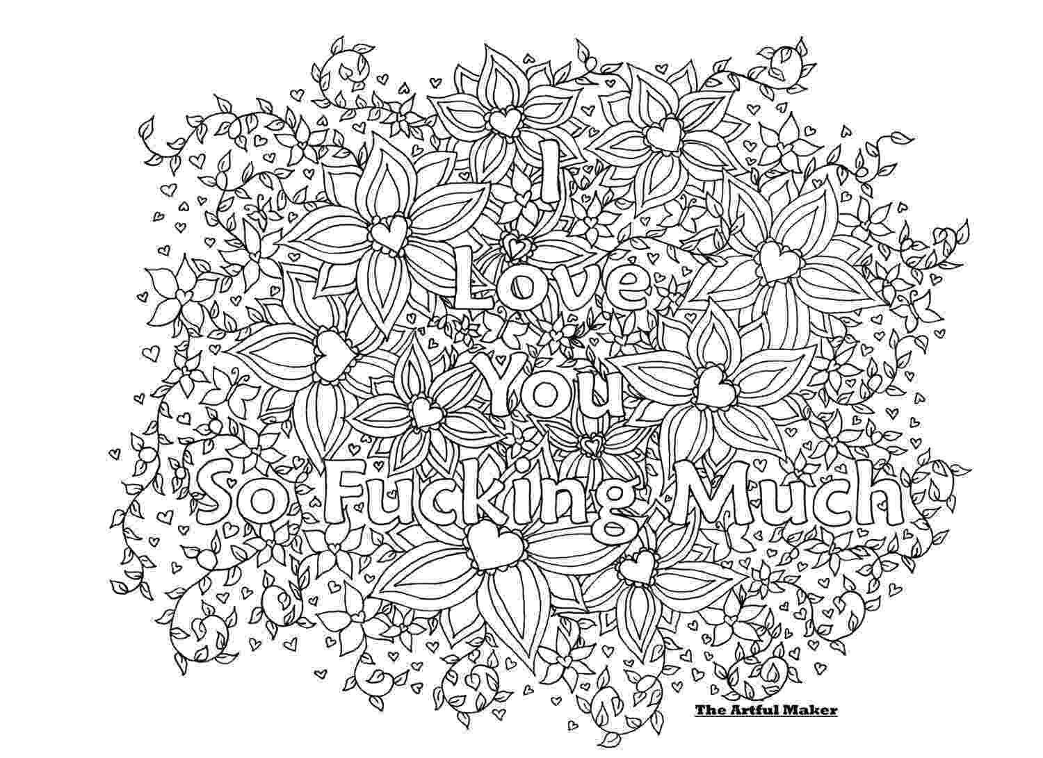 coloring pages love you i love you so fucking much adult coloring page by the coloring you pages love