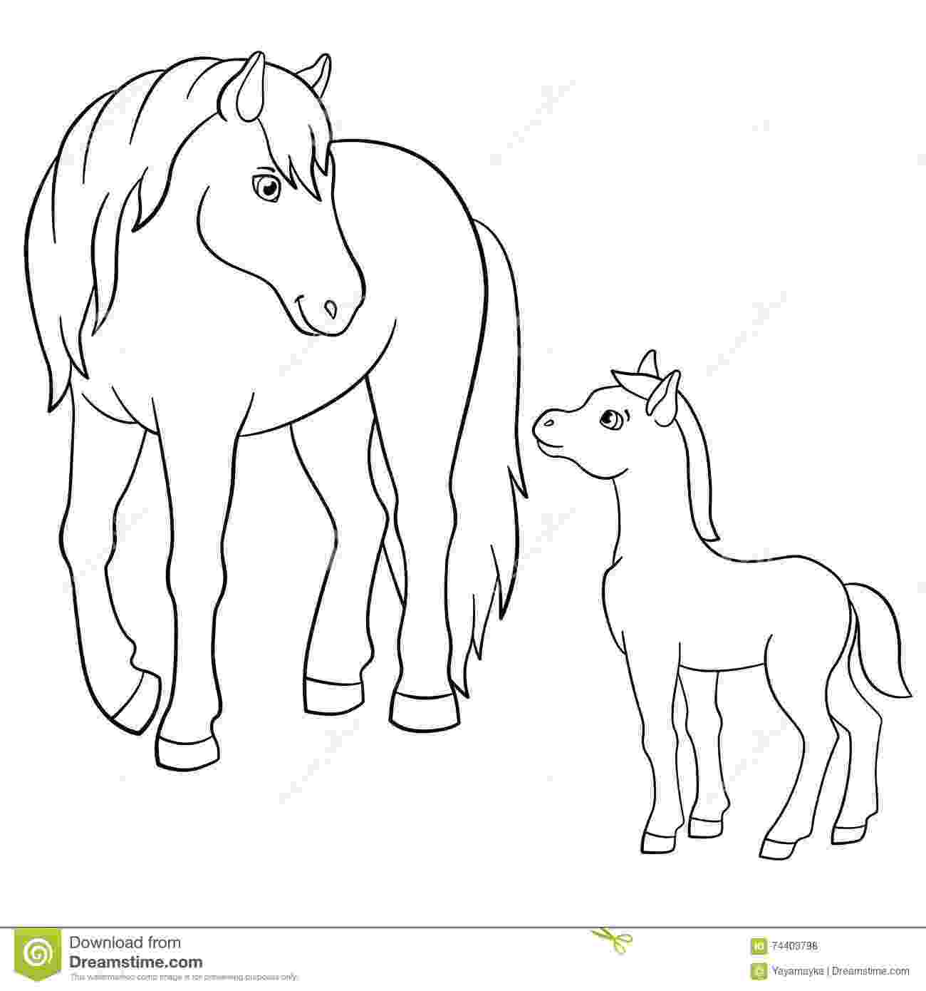 coloring pages of animals horses coloring pages farm animals mother horse with foal coloring pages horses of animals