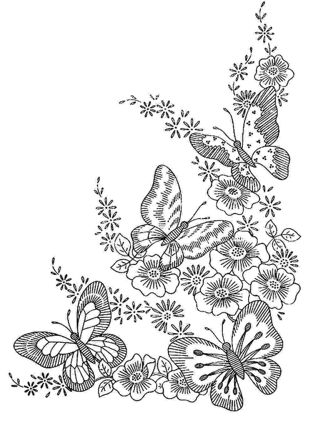 coloring pages of butterflies and flowers spring butterfly and three spring flower coloring page butterflies and flowers of pages coloring