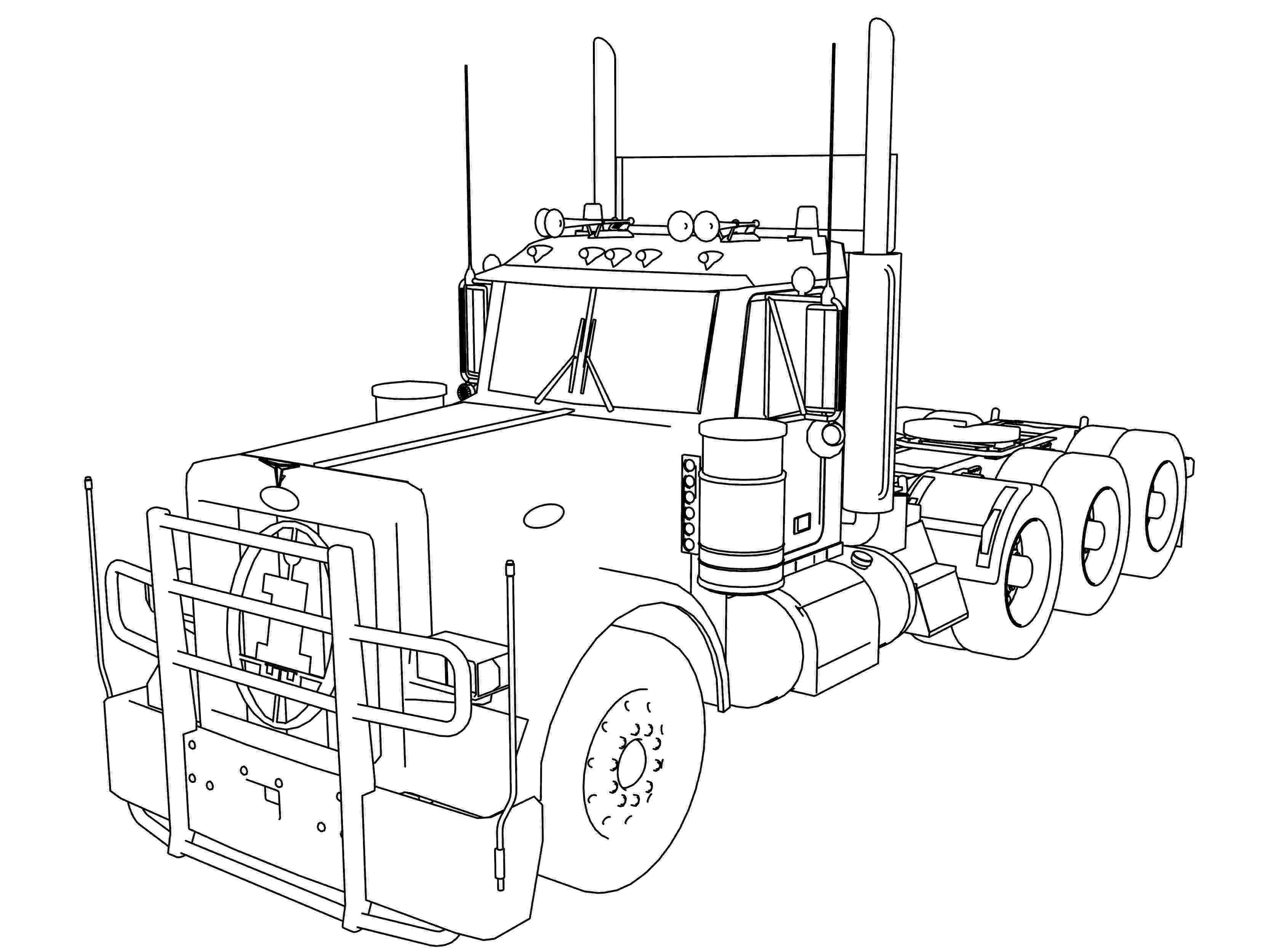 coloring pages of semi trucks trailer truck drawing at getdrawingscom free for semi coloring pages of trucks