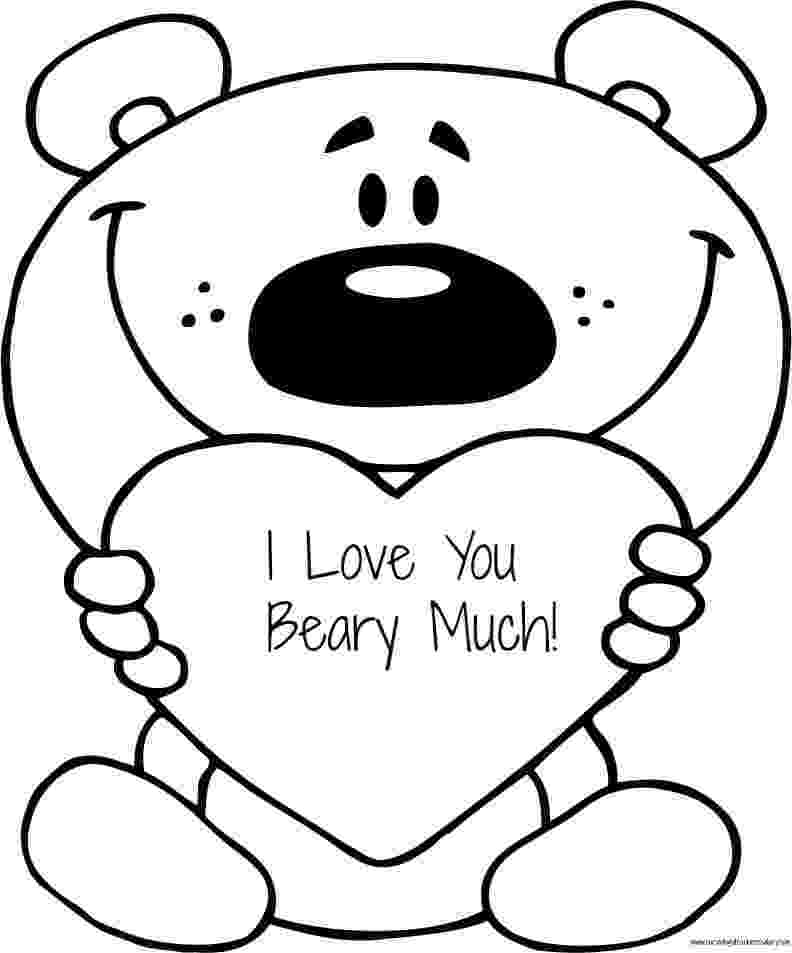 coloring pages that say i love you free valentine39s quoti love you beary muchquot coloring page i say love you that pages coloring