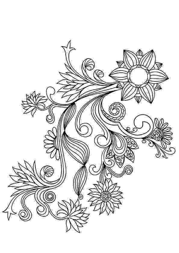 coloring patterns flowers doodle floral pattern in black and white page for patterns flowers coloring