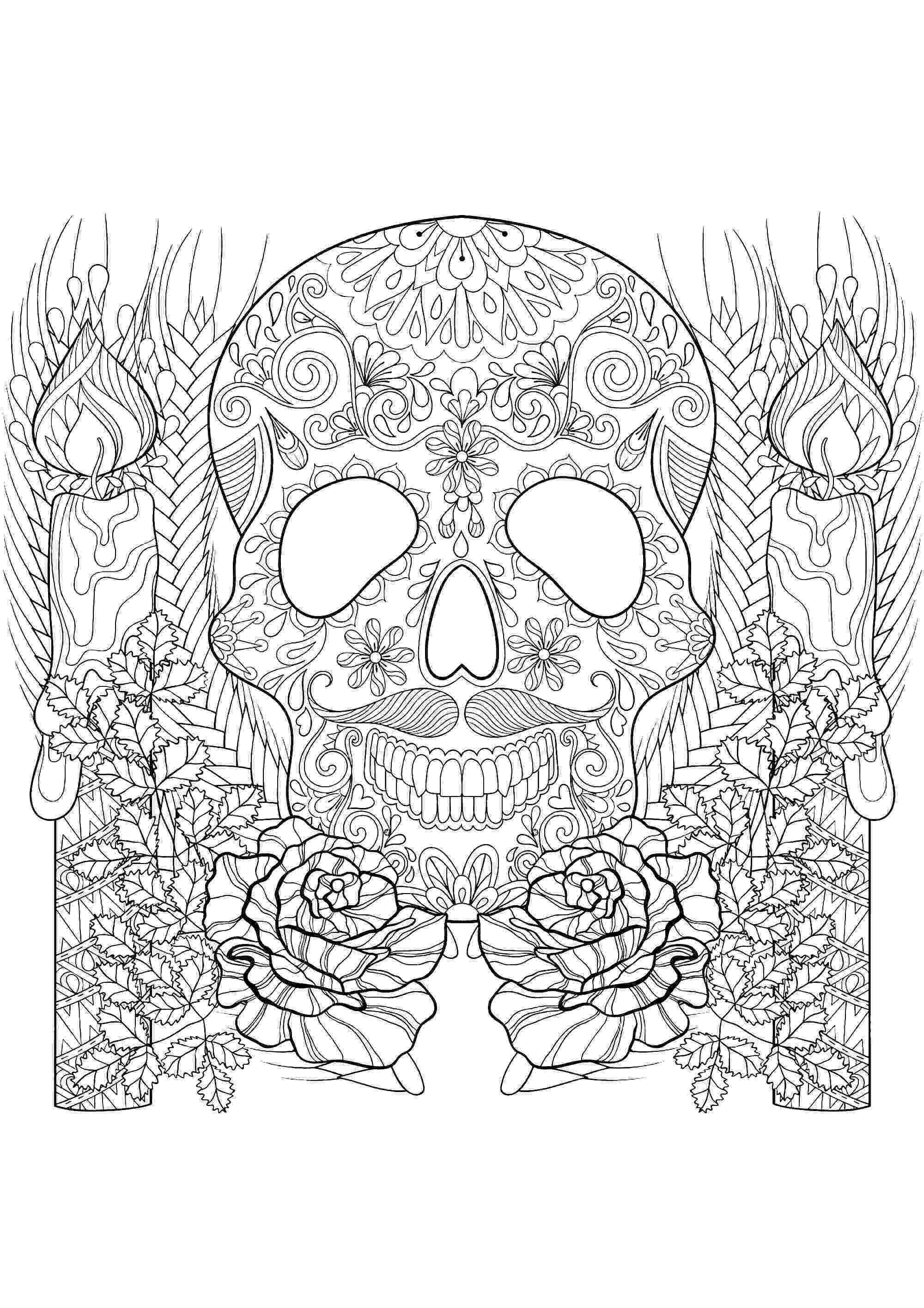 colouring pages for adults print skull and candles halloween adult coloring pages colouring adults for print pages