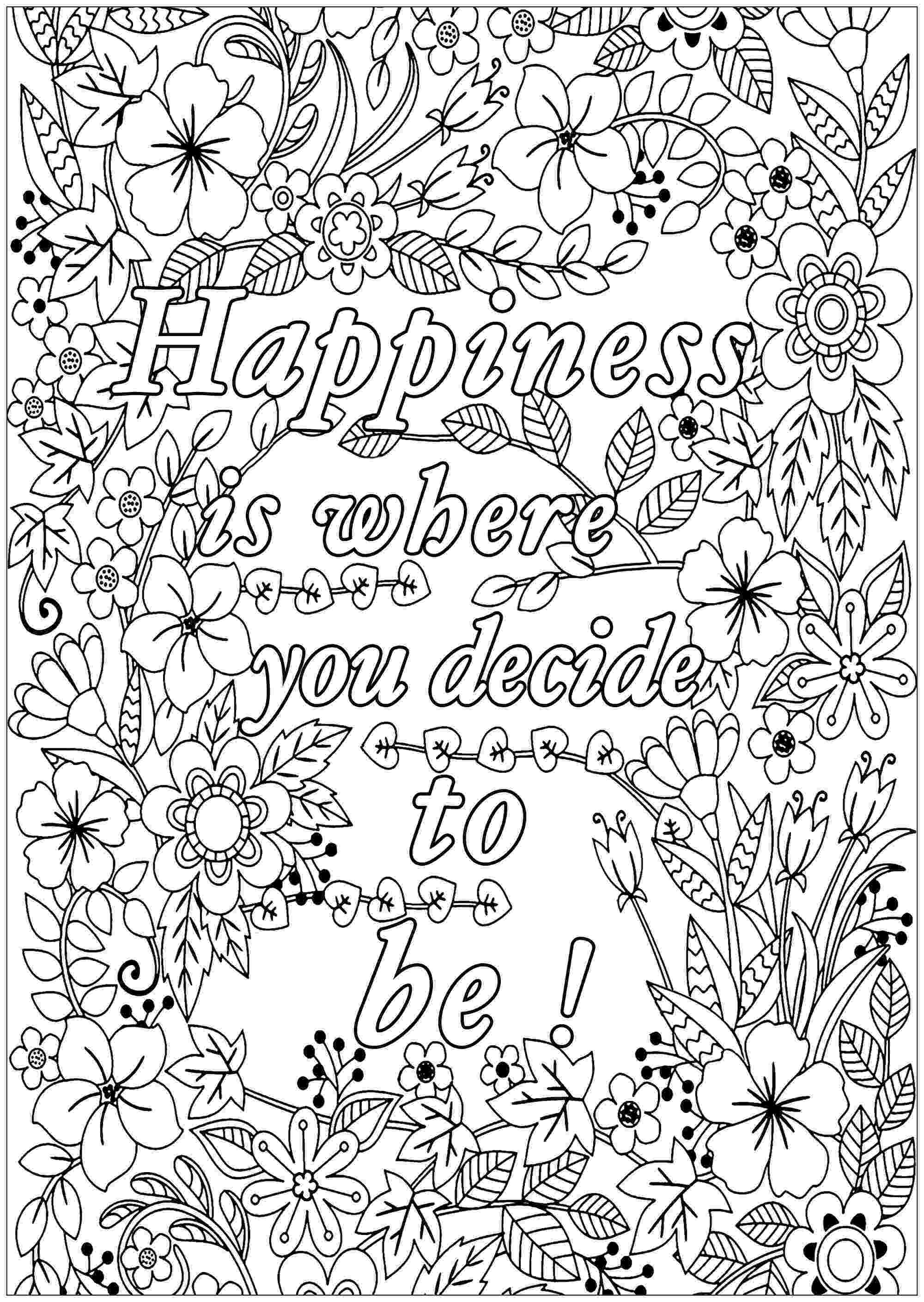 colouring pages for adults with quotes happiness is where you decide to be quotes adult quotes for pages colouring adults with