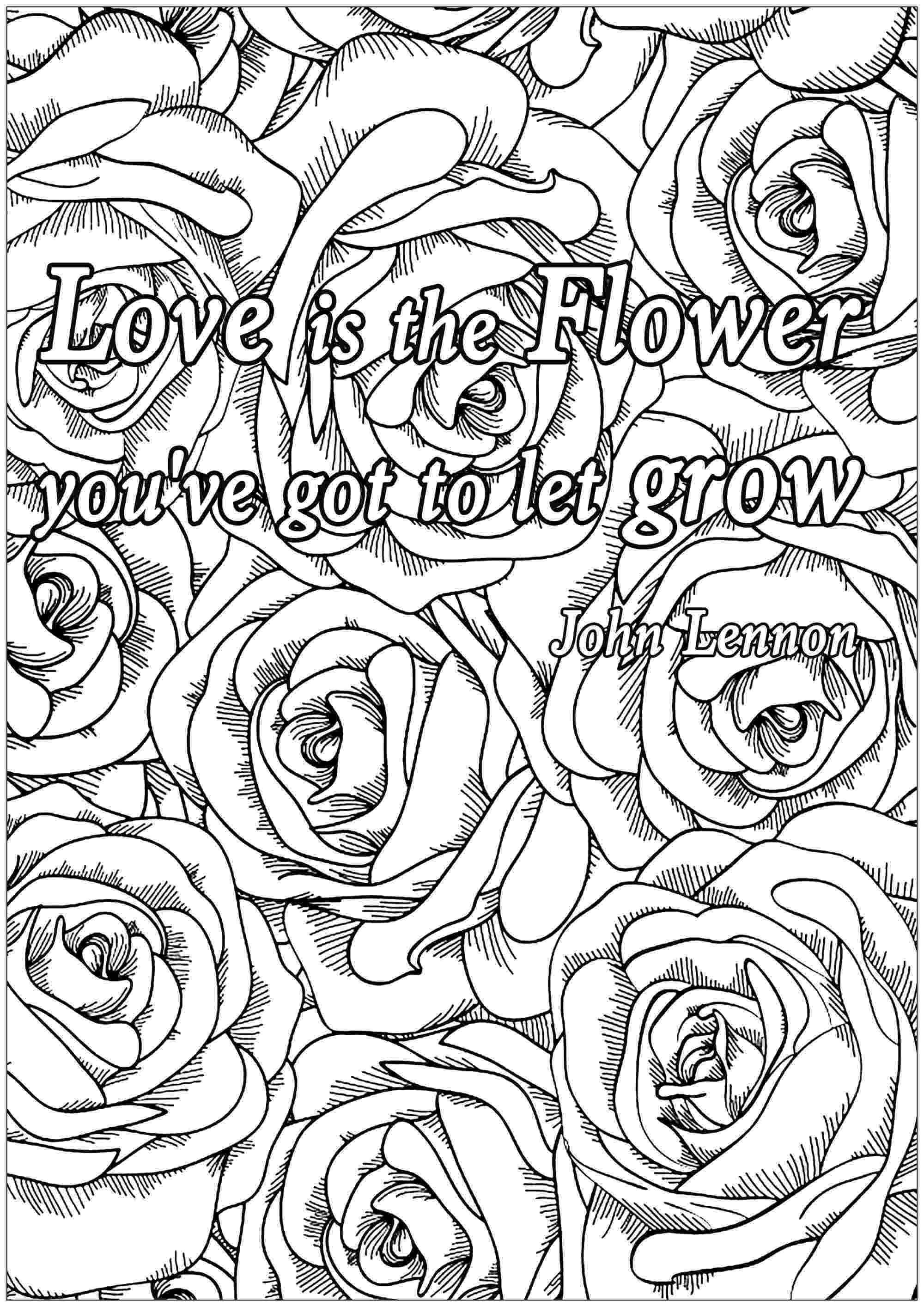 colouring pages for adults with quotes love is the flower quotes adult coloring pages pages colouring quotes with adults for