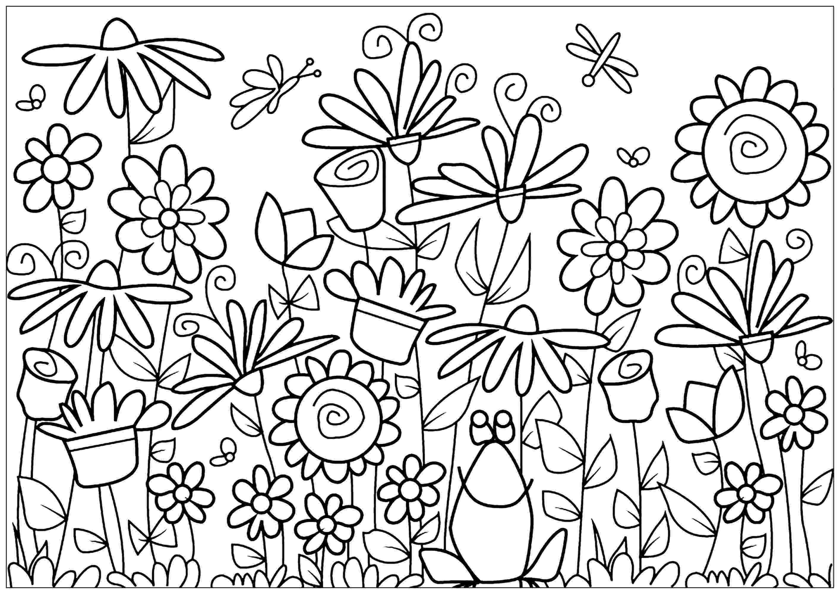 colouring pages for flowers various flowers with a cute frog flowers adult coloring flowers for pages colouring
