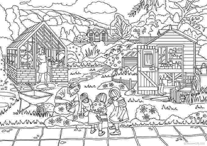 country colouring pages country spring working in the garden printable adult colouring country pages