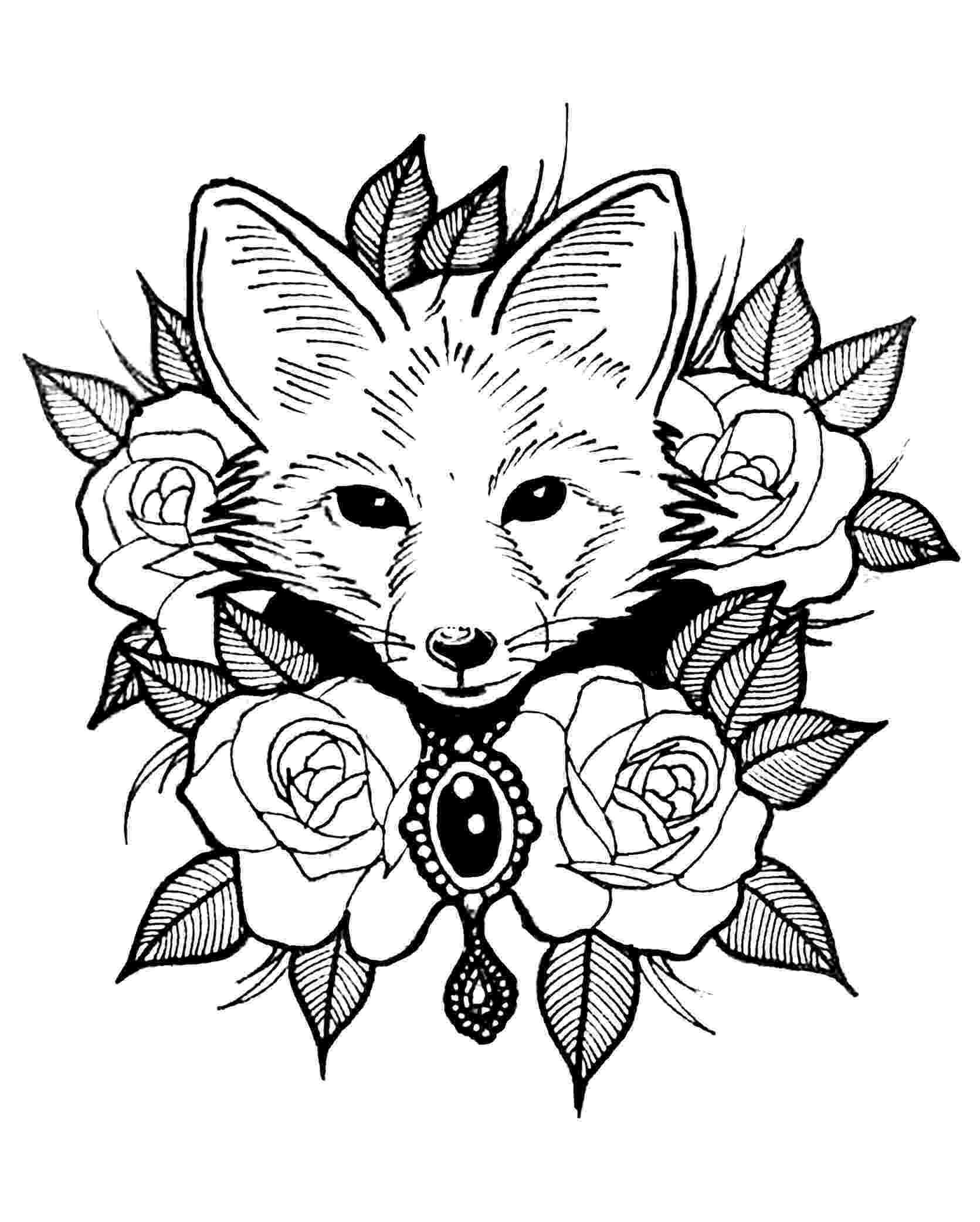 cute wild animals colouring pages cute fox with roses animals coloring pages for adults animals pages wild colouring cute