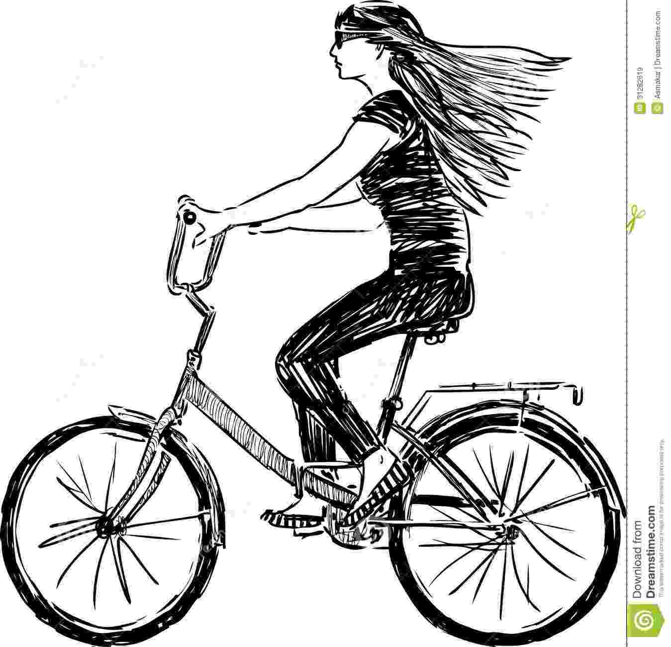 cycle sketch girl riding a bicycle stock vector illustration of sketch cycle