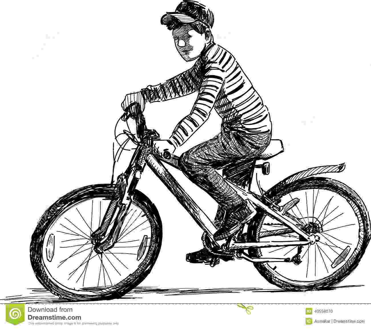 cycle sketch little boy on a bicycle stock vector illustration of sketch cycle