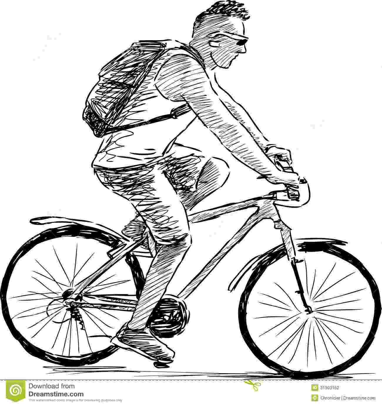 cycle sketch man riding a cycle stock vector illustration of male cycle sketch