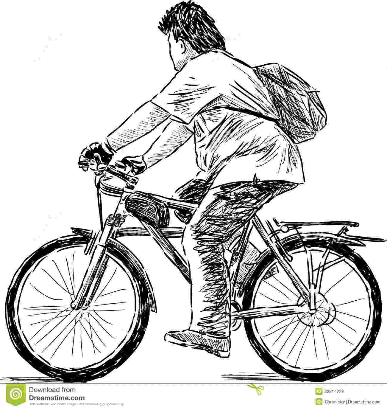 cycle sketch teen on a cycle stock vector image of healthy summer cycle sketch