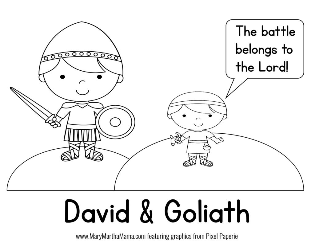 david coloring page david goliath prek pack free mini pack mary martha mama david coloring page