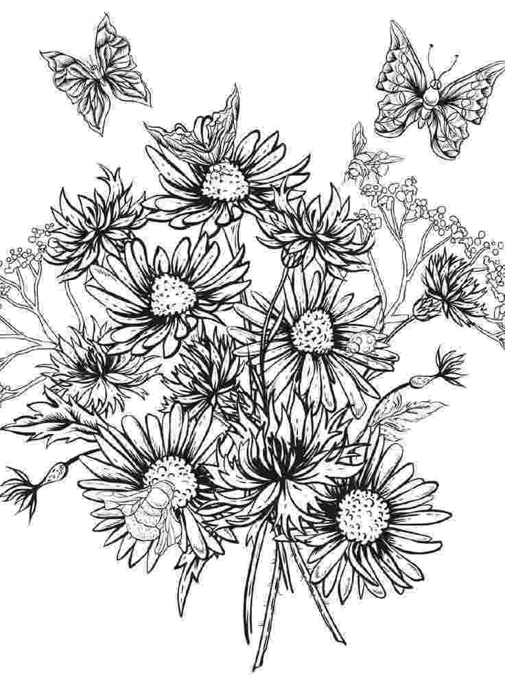 detailed flower coloring pages adult coloring a tangle of flowers set of 8 by emerlyearts pages detailed flower coloring