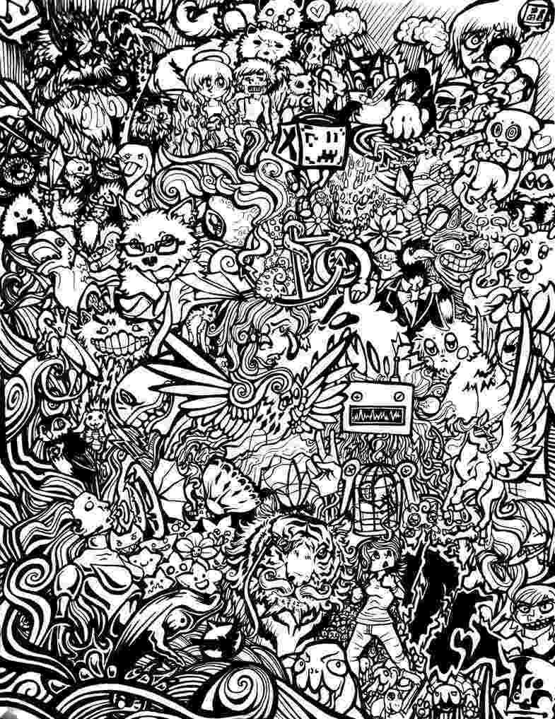 doodle art printables monsters doodle coloring page printable cutekawaii coloring art printables doodle