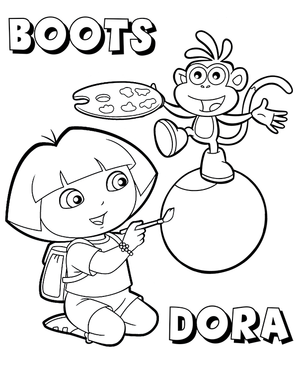 dora and boots coloring pages dora39s best friend boots on coloring pages for kids pages coloring boots dora and