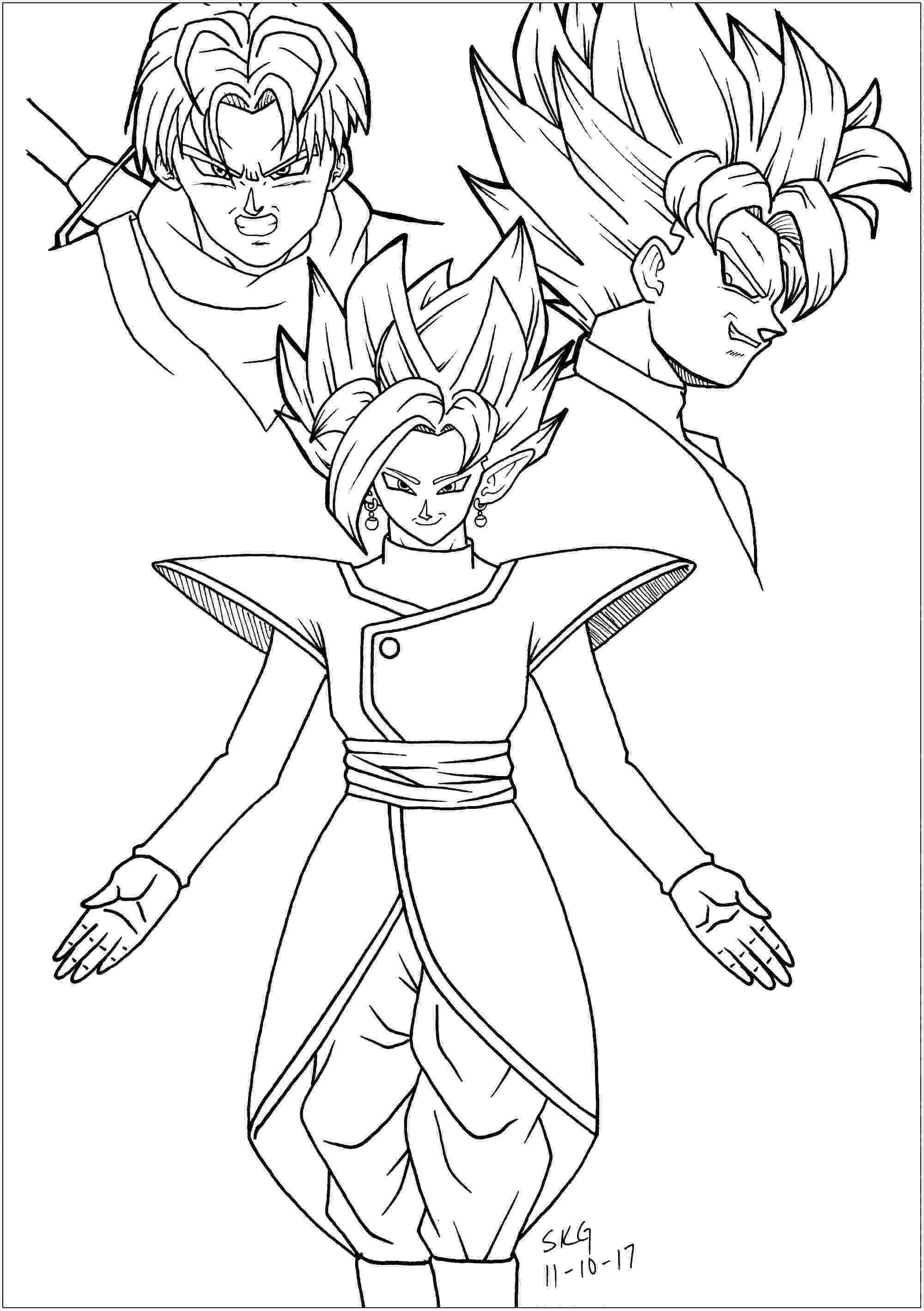 dragon ball coloring pages black goku trunks and zamasu dragon ball z kids pages ball coloring dragon