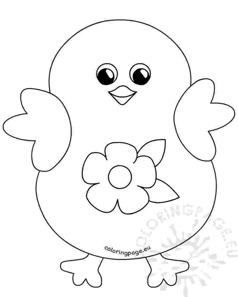 easter chick colouring coloring happy easter chick flower cartoon coloring page chick colouring easter