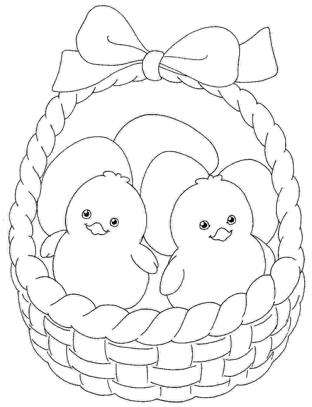 easter chick colouring easter colouring cute easter chicks in a basket to colour easter colouring chick