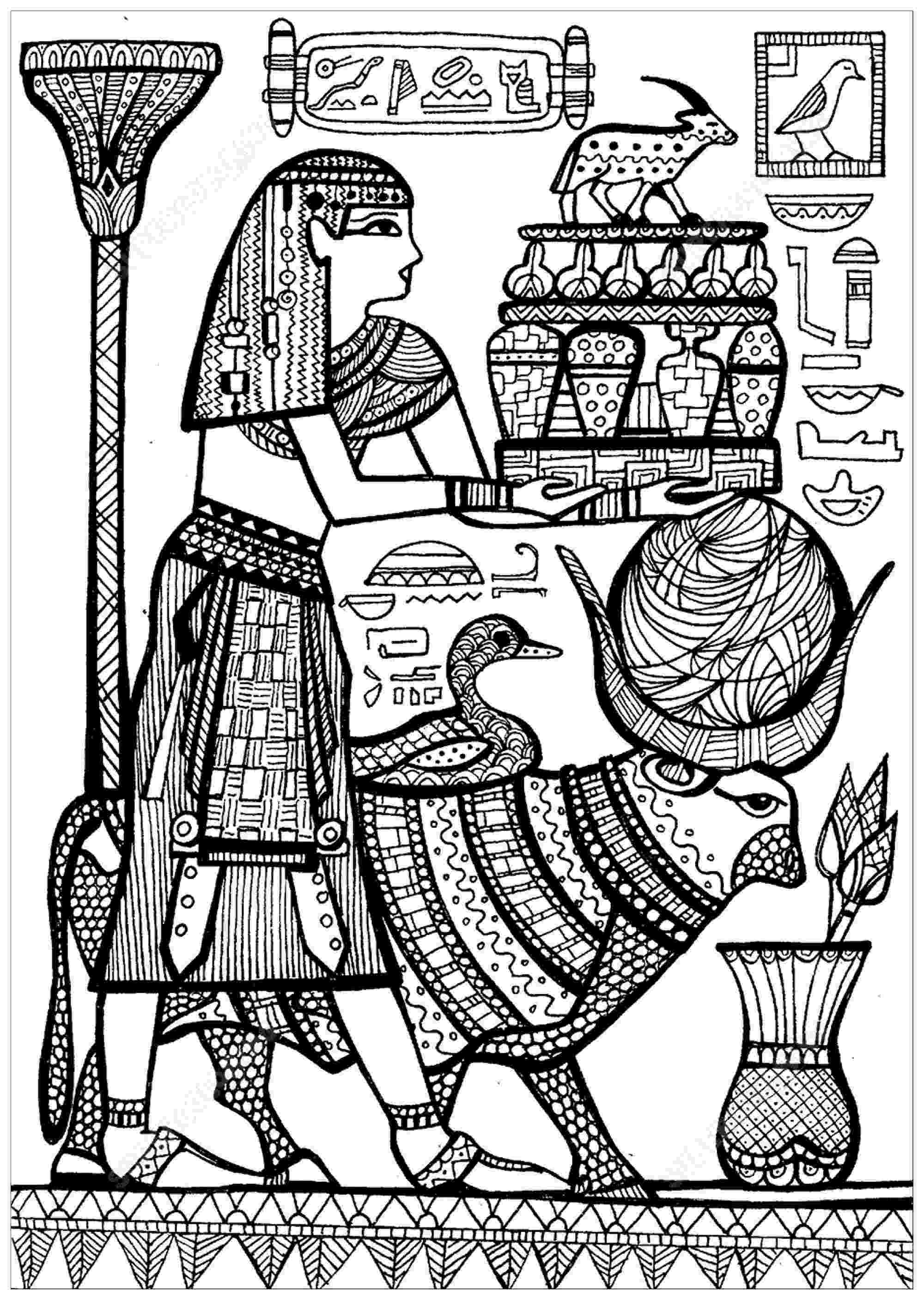 egyptian coloring pages priest and sacred animals of ancient egypt egypt adult pages egyptian coloring