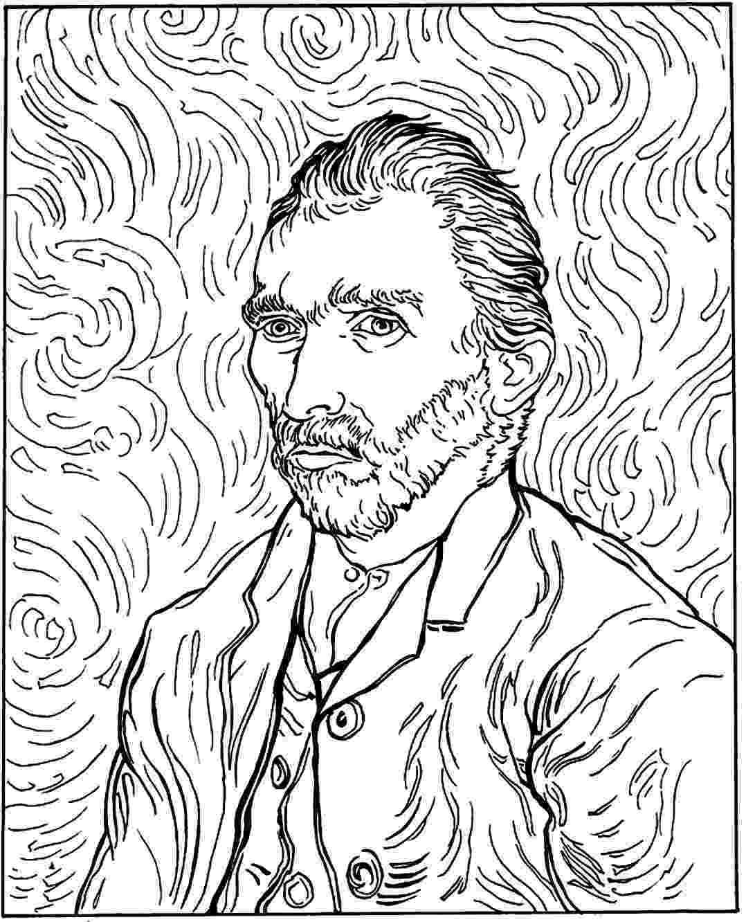 famous artists for kids coloring pages free coloring page coloring adult van gogh autoportrait famous for coloring pages artists kids