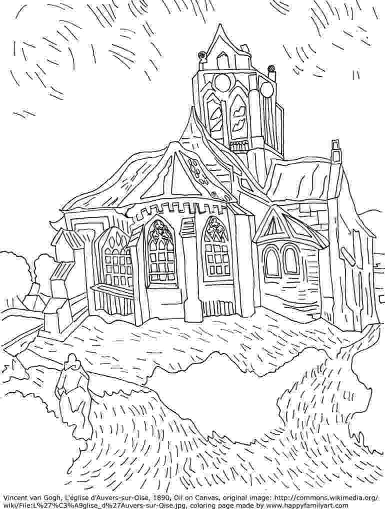 famous artists for kids coloring pages vangoghchurchmedium happy family art artists coloring for famous pages kids