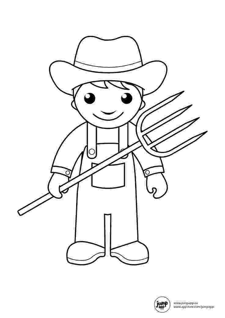farmer coloring sheet farmer coloring page for kids stock vector art more farmer coloring sheet