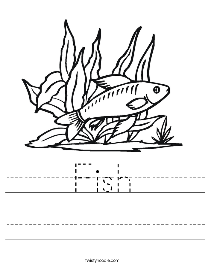 fish coloring worksheet trace the words and color the fish worksheet twisty noodle coloring fish worksheet