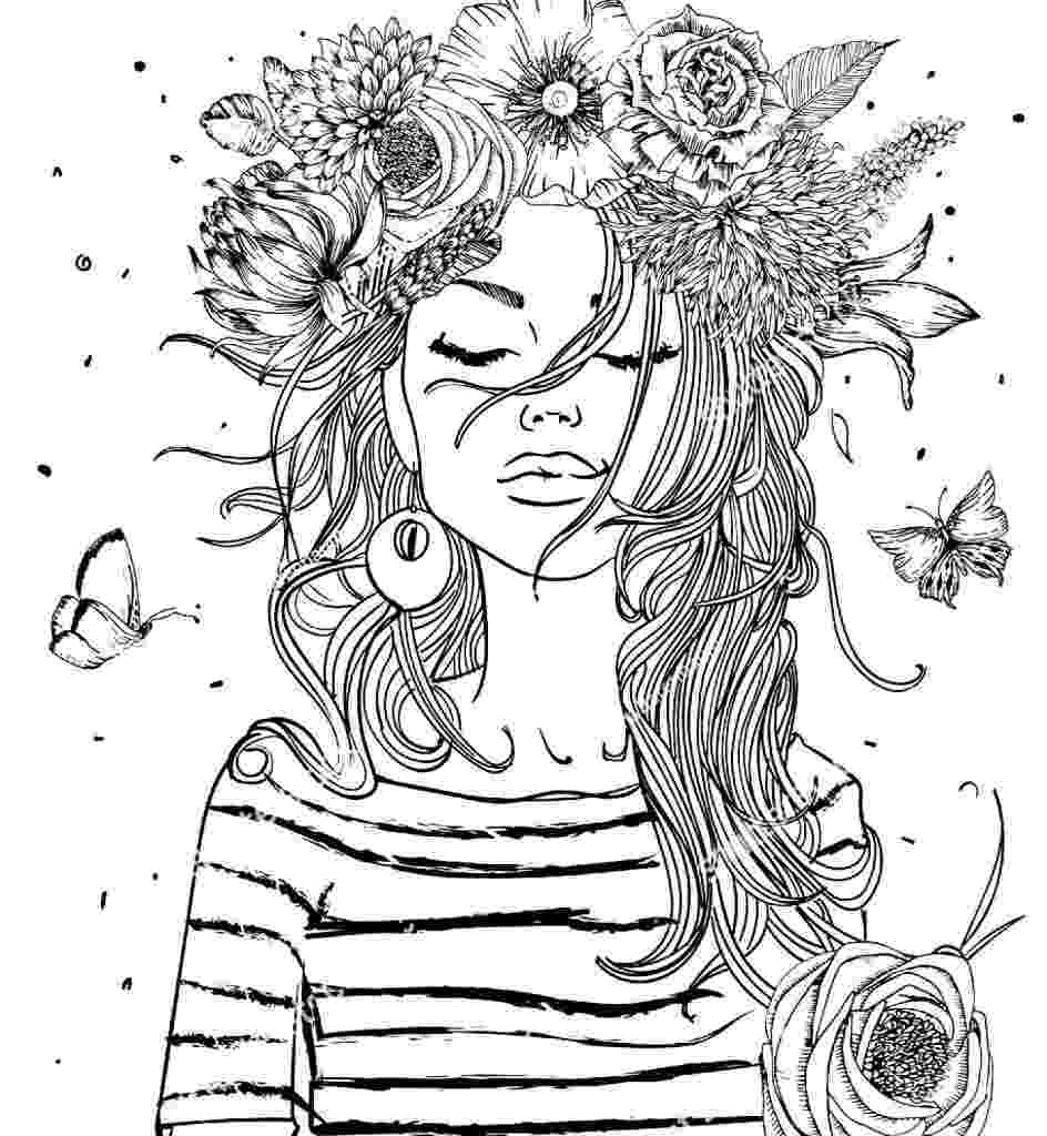 flower coloring pages for girls girl coloring pages coloringrocks for coloring flower girls pages